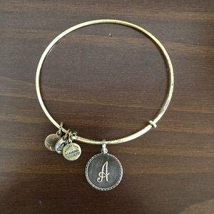 "alex and ani bronze ""A"" initial bangle"